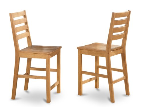 Oak Height (East West Furniture CFS-OAK-W Counter Height Chair Set with Wood Seat, Natural Oak Finish, Set of 2)