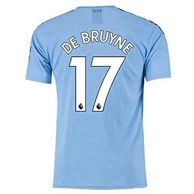 #17 De Bruyne Soccer Jersey Manchester City Home Mens 2019-2020 Season Blue Size L