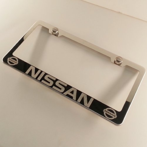 Nissan License Plate Frame Pathfinder - Polish Chrome Laser Engraved Nissan Stainless Steel USA License Plate Frame With Engraved Steel Logo Screw Cap Combo 12.25