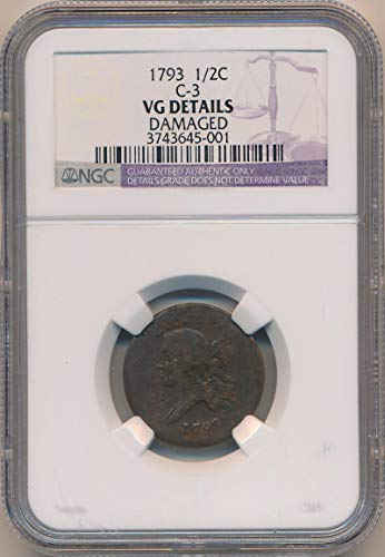 1793 P Flowing Hair Half Cent VG Details NGC