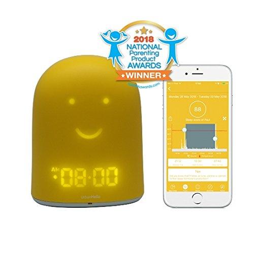 urbanhello Remi –  Sveglia giorno notte educativo e monitoraggio del sonno –  Babyphone Audio con avvisi di rumore 5-en-1 –  Luce notturna –  Altoparlante Bluetooth – &nbsp
