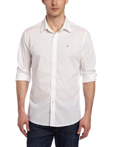 Victorinox Men's Villamont Tailored Fit Long Sleeve Solid Strech Shirt, White, Large