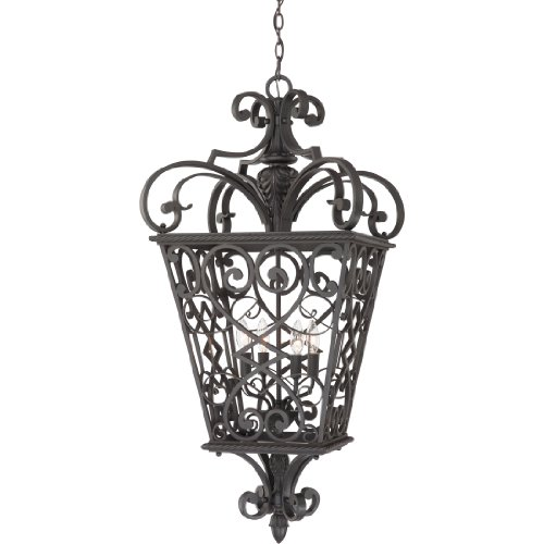 Quoizel FQ1920MK01 French Quarters 4-Light Outdoor Hanging Lantern, Marcado Black
