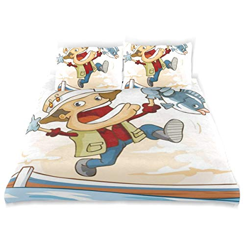 BISHUO Fishing Activity Isolated White Duvet Cover Set Design Bedding Decoration Twin XL 3 PC Sets 1 Duvets Covers with 2 Pillowcase Microfiber Bedding Set Bedroom Decor Accessories ()