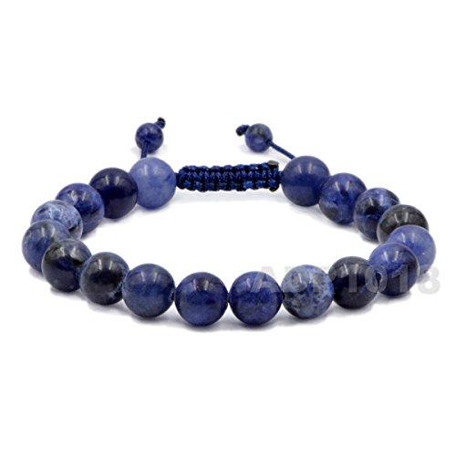 AD Beads Natural 8mm Gemstone Bracelets Healing Power Crystal Macrame Adjustable 7-9 Inch (Sodalite) (Sodalite Gemstone Bracelet)