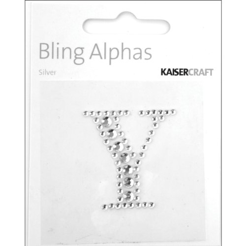 Kaisercraft Bling Alphas Self Adhesive Rhinestone Letter, 1.375-Inch Silver Crystal Y, 5 ()