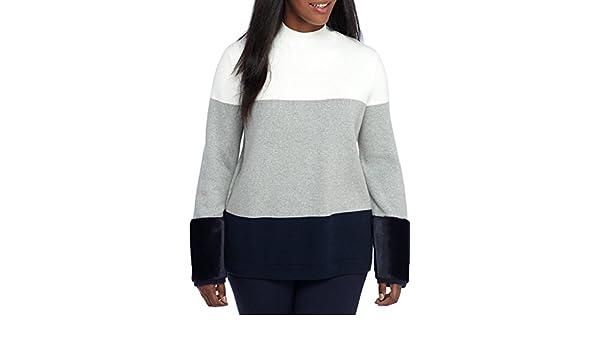 07d1de6efe4 Crown   Ivy Women s Plus Size Faux Fur Trim Cuffs Sweater at Amazon Women s  Clothing store