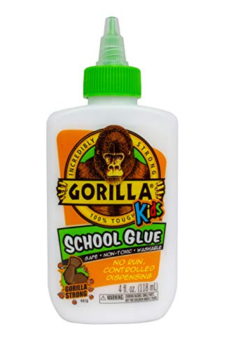 - Gorilla Kids School Glue, 4 oz. Bottle, White, Pack of 1
