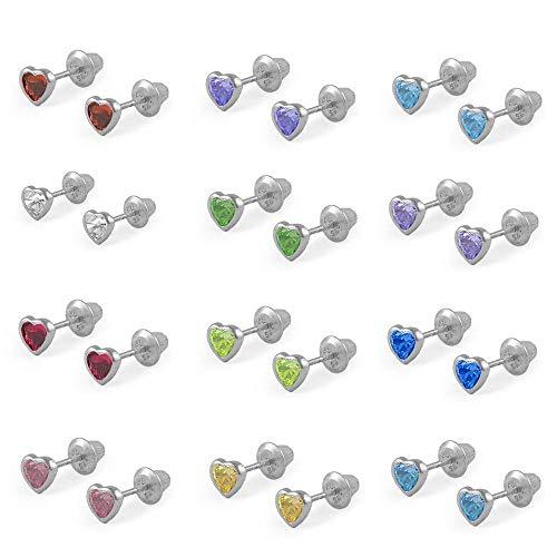 Girls Sterling Silver Simulated Birthstone Heart Shape Screw Back Stud Earrings