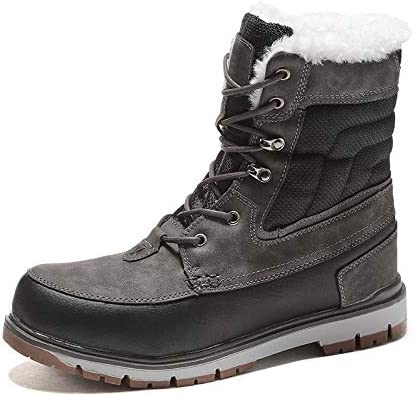 男性レースアップ弾性布ファッションミッドアウトドアシューズブラック冬暖かい寒い天気の靴のための雪のブーツ快適なフェイクファー裏地 (色 : 黒, サイズ : 28 CM)