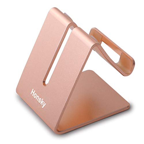(Honsky New Version Solid Aluminum Cell Phone Tablet Desk Charging Stand, Universal Display Desktop Holder Cradle, Compatible with iPhone iPad Mini Android Home Office Travel Kitchen, Rose Gold)