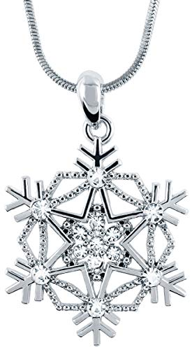 Crystal Snowflake Pendant Necklace Winter Bridal Fashion Christmas Holiday Jewelry Gifts for Girls, Teens, Women (Style 2 - Silver Tone) -