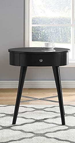 GTU Furniture Oval Shape 1 Drawer Wood Accent Storage Nightstand/Side Table/End Table Black