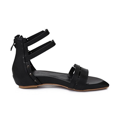 AgooLar Women's Soft Material Open Toe Low Heels Zipper Solid Sandals Black aEaozCd