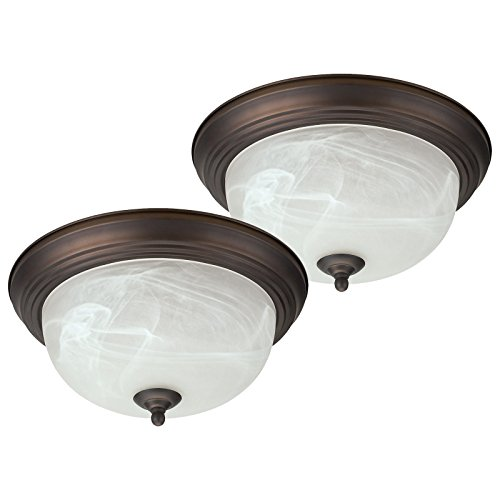 Trendy Oil Rubbed Bronze Flush Mount Ceiling Light Fixture 13  Alabaster Glass 2 Pack Great For Your Home Kitchen Office