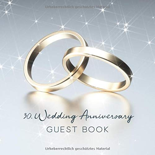 30th Wedding Anniversary Guest Book Golden Wedding Rings Cover On