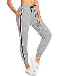 Women's Drawstring Waist Striped Side Jogger Sweatpants...