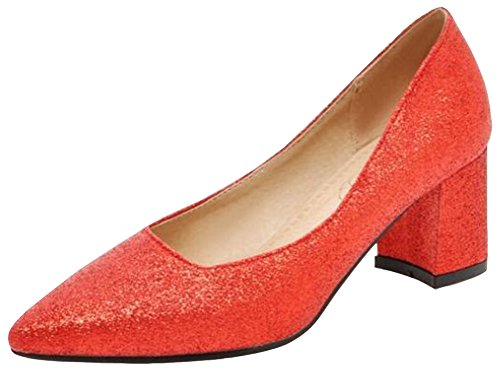 Idifu Womens Dressy Paillettes Metà Tacchi Chunky Scarpe A Punta Basse Slip On Slip Shoes Rosse