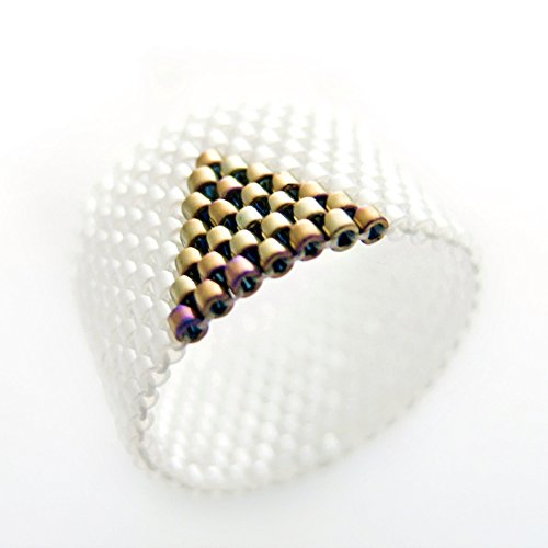 White and Gold Ring, Gold Triangle Ring, White Ring Band, (Cleopatra Ring Band)