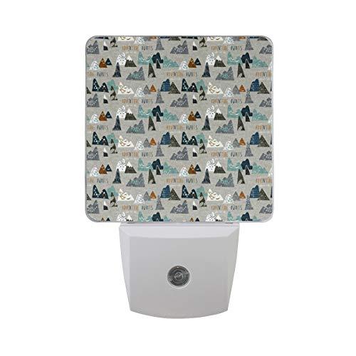 (LED Night Light with Smart Dusk to Dawn Sensor,Adventure Awaits (Earth) Nouveau_Bohemian Plug in Night Light Great for Bedroom Bathroom Hallway Stairways Or Any Dark Room)