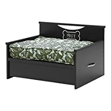 South Shore Step One Dog Bed with Storage and Cushion Cover, Pure Black