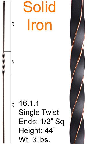 Copper Twist (Oil Rubbed Copper 16.1.1 Single Twist Iron Baluster for Stair Remodel , Box of 5)