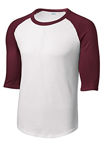 Mens or Youth 3/4 Sleeve 100% Cotton Baseball Tee Shirts Youth S to Adult 4X WH/MRN-4XL