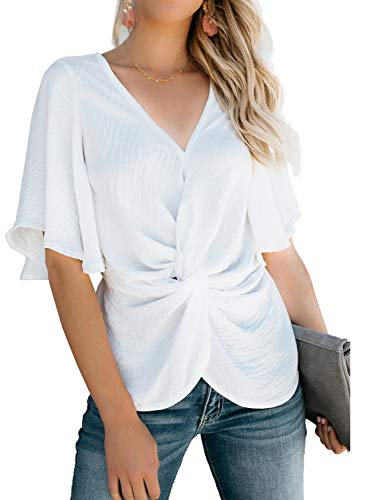 - Dokotoo Womens Fashion Plus Size Ladies Solid Summer Short Sleeve V Neck Knot Ruched Front Twist Blouse Tops Summer Shirts for Work White X-Large