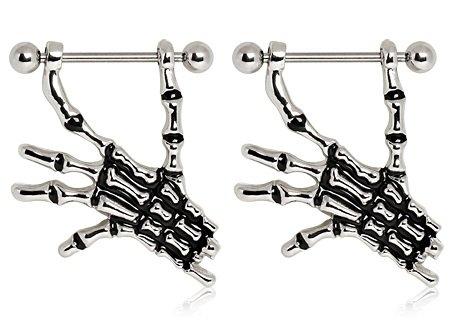 Skeleton Hands Nipple Shield 14g - Sold as Pair ()