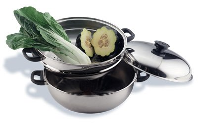 Precise Heat 3-Piece Stainless Steel Oversized Skillet Steamer and Cover (Skillet Steel Steamer Oversized Stainless)