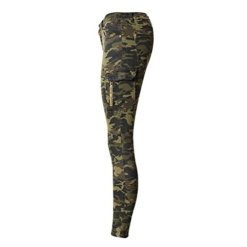 Ejército Flaco Jeans Camuflaje Verde Vaqueros Pantalones Mujeres 80Store Estiramiento Pantalones Hot OwqpwvX