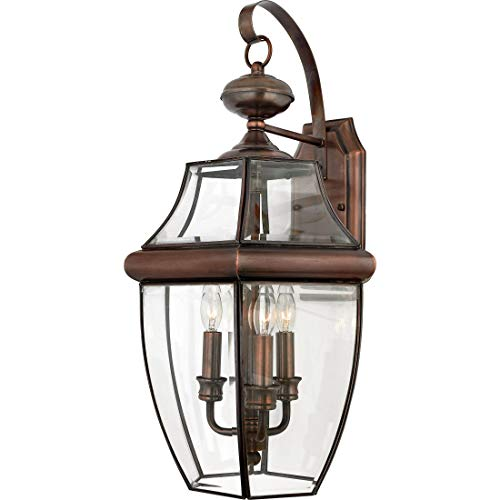 Quoizel NY8318AC  Newbury 3-Light Outdoor Lantern, Aged Copper (Renewed)