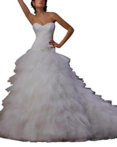 George Bride Tiered tuell ueber satén de Ball vestido Capilla Tren Vestidos de novia Vestidos de Boda Beige