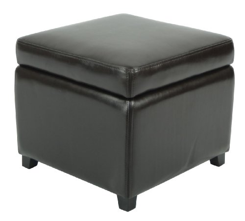 (Safavieh Hudson Collection Ryder Leather Square Flip Top Ottoman, Brown )