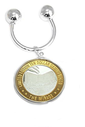 (Screw Ball Horseshoe Key Ring featuring the $10 Souvenir Casino Token in a Sterling Silver Coin Edge Coin Bezel)