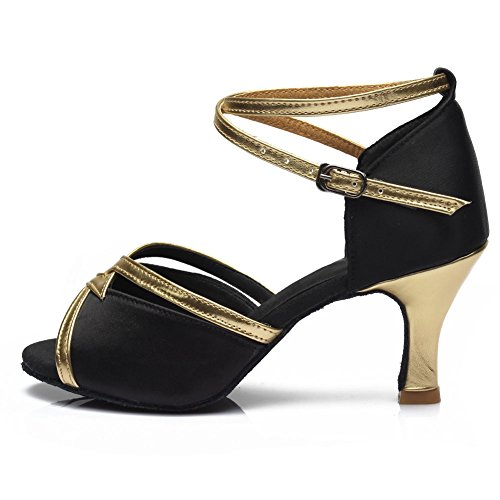 Women's Latin 225 7cm Samba Modern Ballroom Black Chacha HROYL Standard S7 Shoes Dance Satin 6xqwCE1