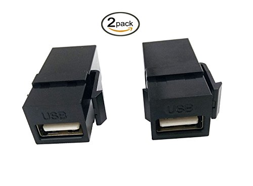 (Poyiccot USB 2.0 Keystone Jack, (2-Pack) USB 2.0 Female to Female Straight In-Line Coupler Insert Wall Plate Connectors Adapter-Black)