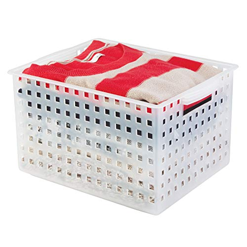 InterDesign Modulon Plastic Storage Organizer Basket with Handle for Bathroom, Health, Cosmetics, Hair Supplies, and Beauty Products, 11.2