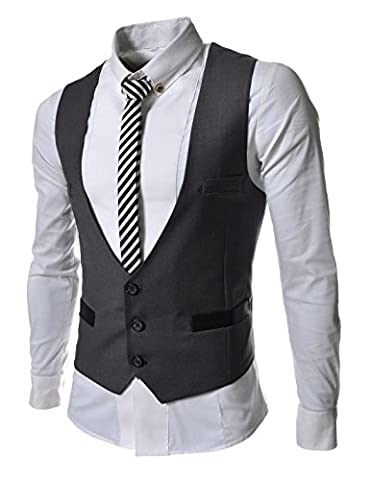 TheLees (TLV1) Mens Business Slim fit 3 Button Vest Waist Coat Darkgray US L(Tag size 2XL) (Business Trivia)