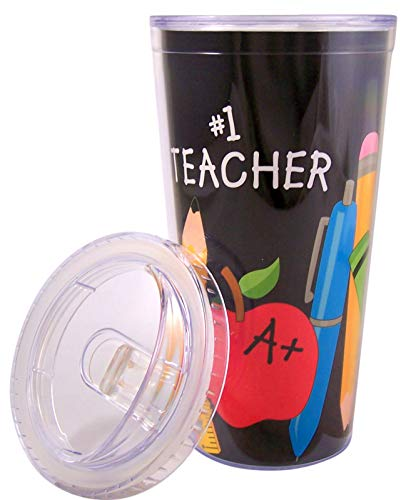 #1 Teacher Appreciation 20 oz. Acrylic Travel Sippy Cup with Straw