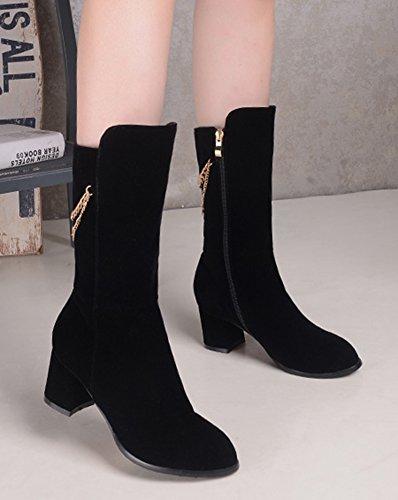 Cadena Casual Para Mujer De Aisun, Vestido Con Cremallera Lateral, Tacón Medio, Tacones Medianos, Botas De Media Caña, Zapatos Negros
