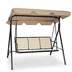 COSTWAY 3 Seater Garden Swing Chair, Outdoor Indoor Canopy Powder Coated Steel Cushioned Seaters, Patio Metal Hammock Swinging Bench Lounger Seat, 240KG (Brown)