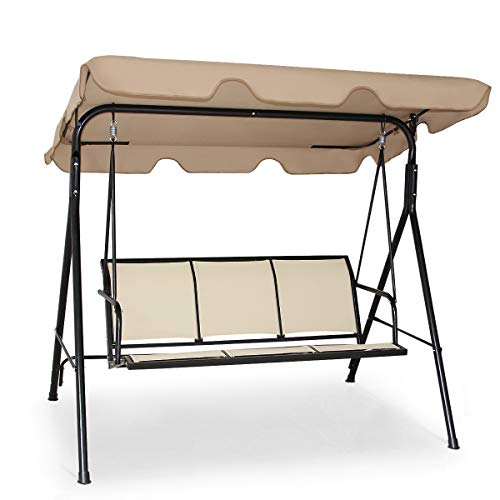 Tangkula 3 Person Patio Swing, Steel Frame with Polyester Angle Adjustable Canopy, All Weather Resistant Swing Bench, Suitable for Patio, Garden, Poolside, Balcony (Brown) (Outdoor Bench Patio Swing)