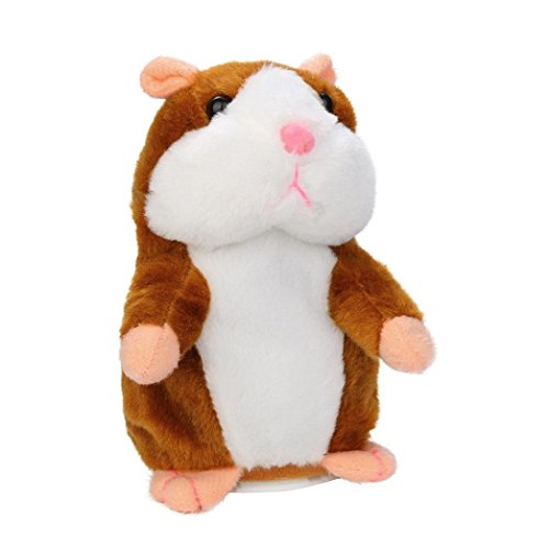Animated Interactive Stuffed Animal Hamster Toy Talking Mimic Robot Pet Dolls for Kids, Toddlers 4 & Up, Voice Repeats What You Say & Cuddly Plush Records Sounds - Fun Gift for Kids