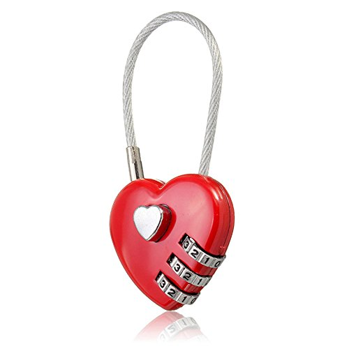 MAXGOODS 3 Pack Combination Lock,Love Heart Wire Rope Digital Combination Padlock for School/Gym/Toolbox/Suitcase/Employee - Rope Combination