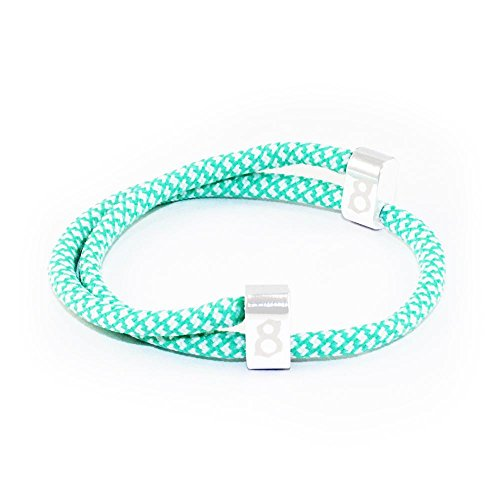 st8te Men's & Women's Adjustable Rope Bracelets - White/Green Rope (White - Codes Tiffany Discount