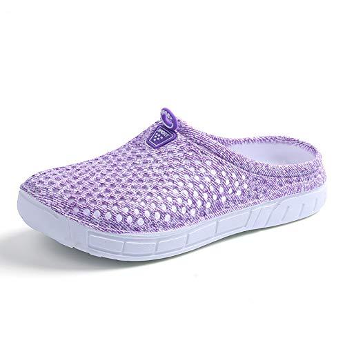 Gris Confortables évider Respirant 42 Dossier pour coloré Sabots Taille Violet sans Femmes ZHRUI EU Confortables EVA Chaussures 7Cfqn