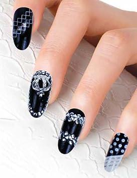 Uñas postizas False Nail puntas Fake uñas, estilo francés 0050-3D-10 nail adhesivo tatuaje de - Fashion Life: Amazon.es: Belleza