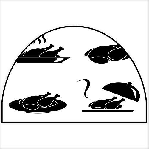 Hua Wu Chou Half Round Coir Door mathalf Round Dog mat W30 x H18 INCH Thanksgiving Turkey or Chicken Vector icon Set Isolated on White Background Turkey on Plate with Cloche SMO