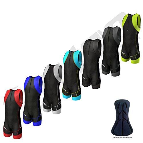 Zimco Compression Triathlon Suit Racing Tri Suit Bib Short Cycling Swim Run (Black/Blue, XL) (Bib Triathlon)